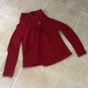 Topshop Sweaters - Topshop Cowl Turtleneck Red Knit Crochet Cardigan
